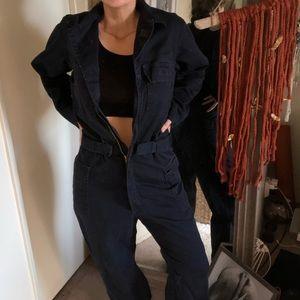 Navy blue coveralls unisex size 38R jumpsuit